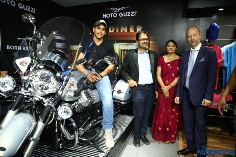 Naga-Chaitanya-on-MotoGuzzi-California-Touring-Motoplex-Hyderabad--1024x683